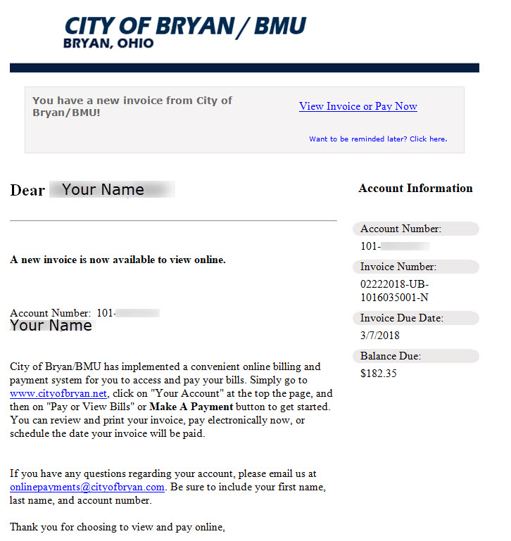Sample E Mailed Bill From BMU.
